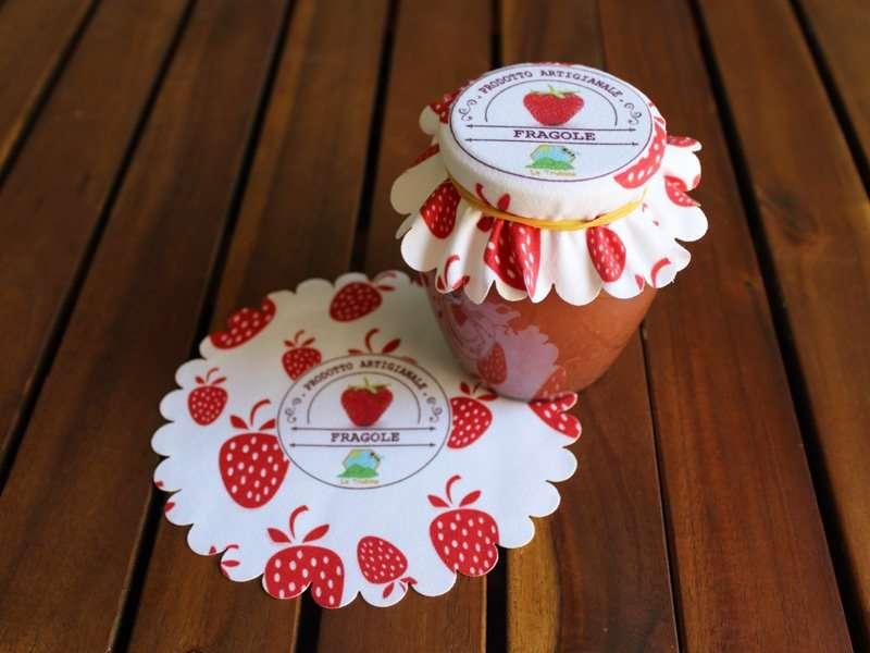 Copri vasetti e barattoli in stoffa personalizzati for Vasi per fragole